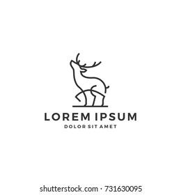 outline deer line art logo vector icon