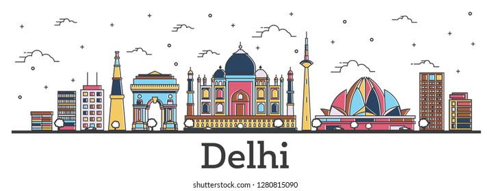 Outline Delhi India City Skyline with Color Buildings Isolated on White. Vector Illustration. Delhi Cityscape with Landmarks.