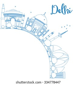 Outline Delhi skyline with blue landmarks and copy space. Business travel and tourism concept with place for text. Image for presentation, banner, placard and web site. Vector illustration.