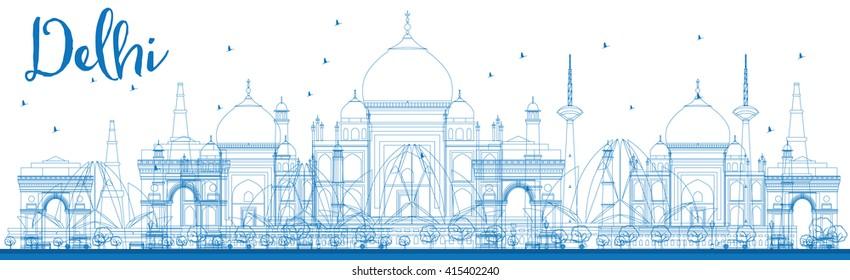 Outline Delhi skyline with blue landmarks. Vector illustration.