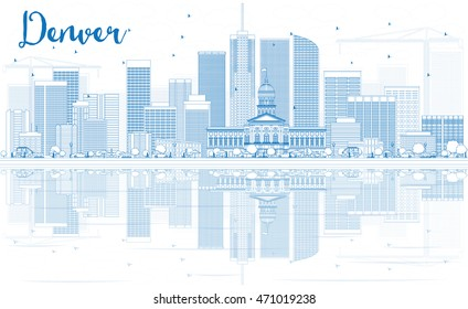 Outline Denver Skyline with Blue Buildings and Reflections. Vector Illustration. Business Travel and Tourism Concept with Modern Buildings.