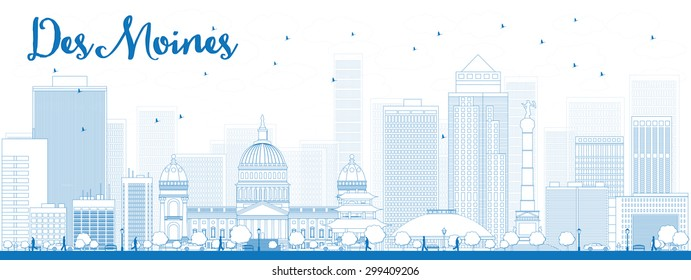 Outline Des Moines Skyline with Blue Buildings. Vector Illustration. Business travel and tourism concept with modern buildings. Image for presentation, banner, placard and web site.