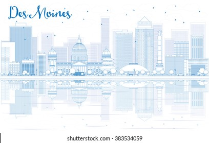 Outline Des Moines skyline with blue buildings and reflections. Vector illustration. Business travel and tourism concept with place for text. Image for presentation, banner, placard and web site.