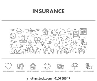 Outline design concept web banner for health insurance.