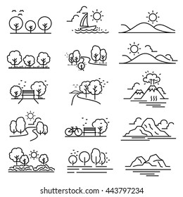 Outline design View images Nature Landscape Icons vector.