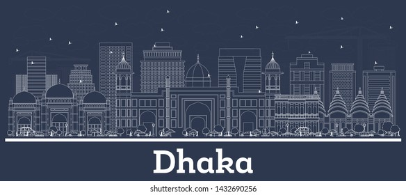 Outline Dhaka Bangladesh City Skyline with White Buildings. Vector Illustration. Business Travel and Tourism Concept with Historic Architecture. Dhaka Cityscape with Landmarks.
