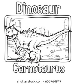 Outline Dinosaur Carnotaurus Illustration Suitable For Any Of Graphic Design Project Such As Coloring Book And Education