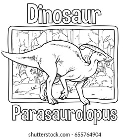 Outline Dinosaur Parasaurolopus Illustration Suitable For Any Of Graphic Design Project Such As Coloring Book And Education