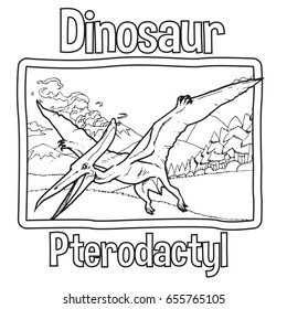 Outline Dinosaur Pterodactyl Illustration Suitable For Any Of Graphic Design Project Such As Coloring Book And Education