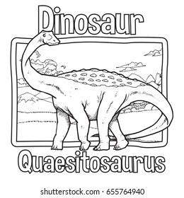 Outline Dinosaur Quaesitosaurus Illustration Suitable For Any Of Graphic Design Project Such As Coloring Book And Education