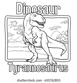 Outline Dinosaur Tyrannosaurus Illustration Suitable For Any Of Graphic Design Project Such As Coloring Book And Education