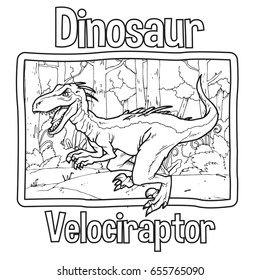 Outline Dinosaur Velociraptor Illustration Suitable For Any Of Graphic Design Project Such As Coloring Book And Education