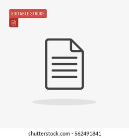 Outline Document Icon isolated on grey background. Line File symbol for web site design, logo, app, UI. Editable stroke. Vector illustration, EPS10.
