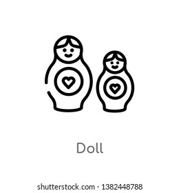 outline doll vector icon. isolated black simple line element illustration from halloween concept. editable vector stroke doll icon on white background
