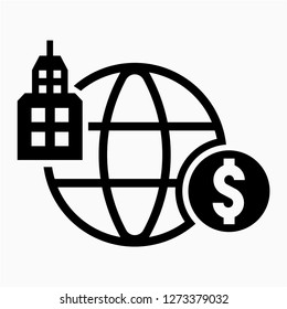 Outline dollar multinational pixel perfect vector icon