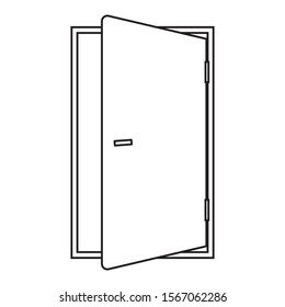 Outline door of the house icon on white background