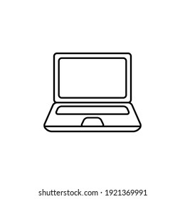 Outline drawing of a black laptop. Vector