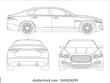 outline drawing of a business sedan, view from three sides. Jaguar XF second generation.