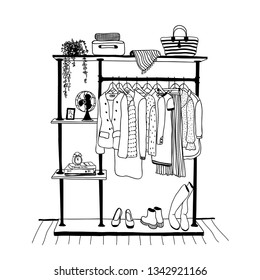 Outline drawing of clothes hanger in the interior of the room, sketch by hand  with contour lines. Vector illustration