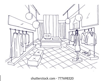 Outline drawing of clothing boutique interior with furnishings, clothes hanging on hangers, mannequin dressed in stylish apparel. Fashion store hand drawn with contour lines. Vector illustration.