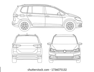 outline drawing of compact van. Сompact van Touran.