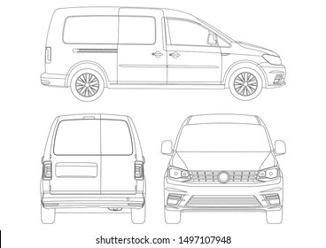 outline drawing of compact Van. View from three sides.Volkswagen Caddy.
