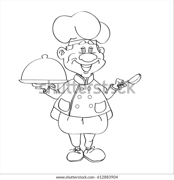 Outline Drawing Cook Colour Stock Vector (Royalty Free) 612883904