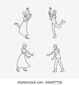 Outline drawing of dancing couple. Dancing man and dancing woman. Flat vector stock illustration