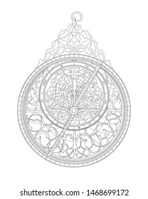 Outline drawing decorative astrolabe with zodiac round