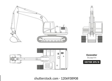 Outline drawing of excavator on white background. Top, side and front view. Diesel digger blueprint. Hydraulic machinery image. Industrial document. Vector isolated illustration
