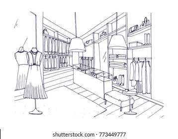 Outline drawing of fashionable clothing shop interior with furnishings, showcases, mannequins dressed in stylish apparel. Boutique or fashion store hand drawn with contour lines. Vector illustration.