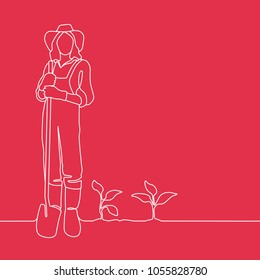 Outline drawing of female farmer standing in vegetable garden with spade in her hands