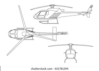 Outline drawing of helicopter on white background. Top view, side view, front view. Vector illustration