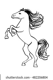 Outline drawing of a horse, isolated on a white background.