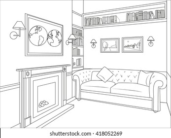 Outline drawing of a interior living room with sofa, fireplace, shelves with books, paintings, maps, and sconces on the walls. Vector illustration.