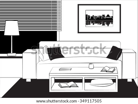 Outline Drawing Interior Living Room Sofa Stock Vector Royalty Free