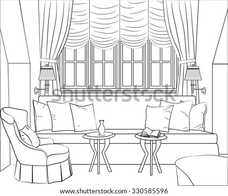 Outline Drawing Interior Room Window Sofa Stock Vector Royalty Free