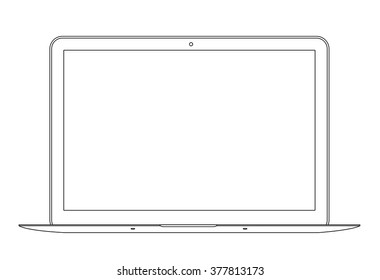 Outline drawing laptop. Elegant thin line style design. Vector illustration.