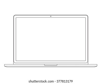 Outline drawing laptop. Elegant thin line style design. Vector illustration.