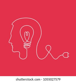 Outline drawing of line creating silhouette of light bulb in head, concept for creativity, inspiration, imagination, innovation, discovery, power of mind, creative process, generating ideas