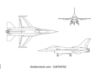 Outline drawing of military aircraft. Top, side, front view. Vector illustration.