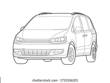 outline drawing of a minivan. Sharan.
