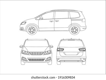 outline drawing of a minivan, view from different sides. Seat Alhambra.