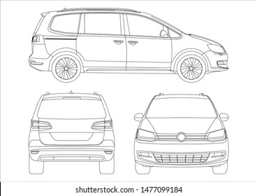 outline drawing of a minivan. View from three sides. Second Volkswagen Sharan.