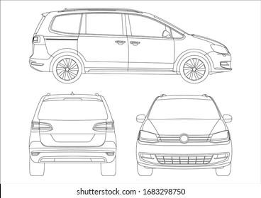 Outline drawing of a minivan, view from three strons. Minivan Sharan