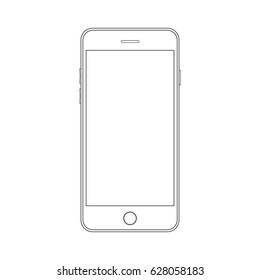 Outline drawing modern smartphone. Smartphone outline mock up vector design template. Mobile phone line icon. Doodle cellphone. Outline drawing smartphone. Smartphone outline icon. Modern mobile phone