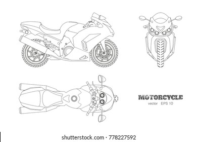 Outline drawing of motorcycle. Side, top and front view. Detailed isolated blueprint of motorbike on white background. Vector illustration