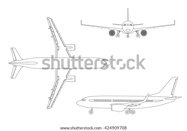 Outline Drawing Plane Flat Style On Stock Vector (Royalty