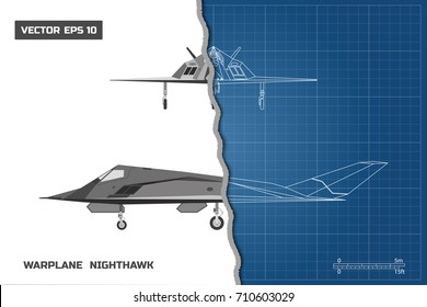 Outline drawing of plane on a blue background. Industrial blueprint of military airplane. Side and front view. Stealth warplane. Vector illustration