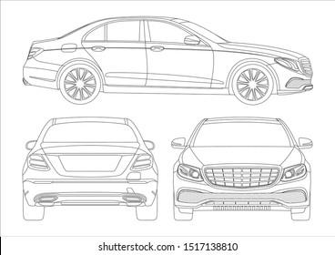 outline drawing of a premium sedan. Mercedes-Benz E-Class W213.